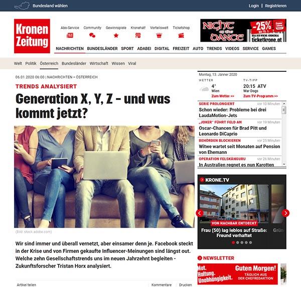 Kronen Zeitung - Generation X, Y, Z
