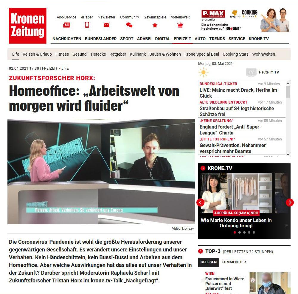 Kronen Zeitung - Die Arbeitswelt von morgen