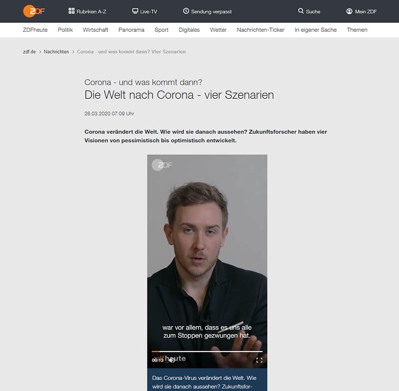 ZDF: Die Welt nach Corona - vier Szenarien
