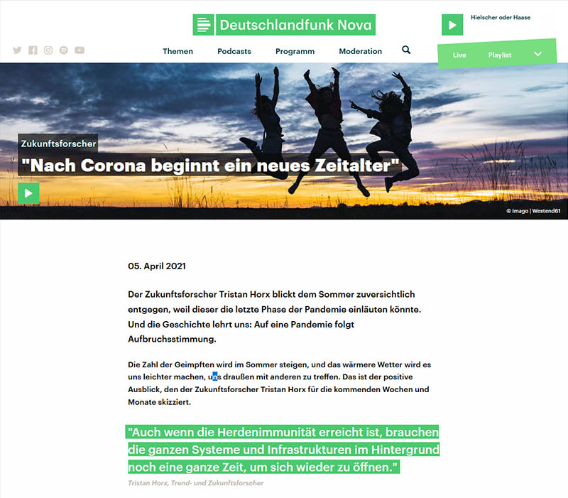 Deutschlandfunk Nova: Mit Corona beginnt ein neues Zeitalter