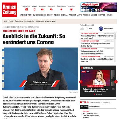 Kronen Zeitung - Interview: So verändert uns Corona